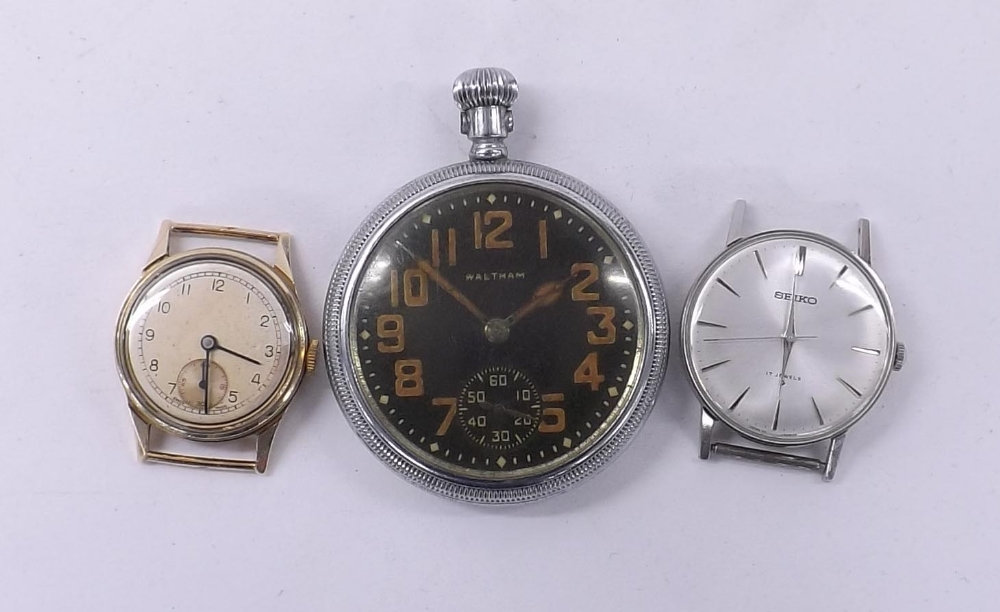 Lot 1870 - 1940s 9ct screw case mid-size wristwatch head, London 1948, silvered dial with Arabic numerals and
