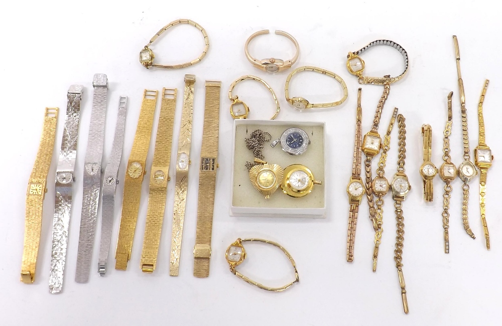 Lot 1909 - Quantity of mechanical gold plated and stainless steel ladies bracelet watches; together with