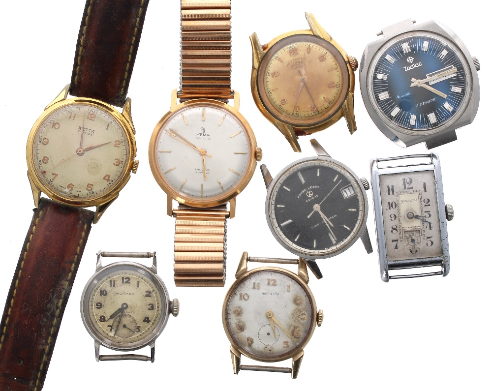 Lot 1927 - Selection of vintage wristwatches, some in need of attention to include Helvetia, Yema, Zodiac,