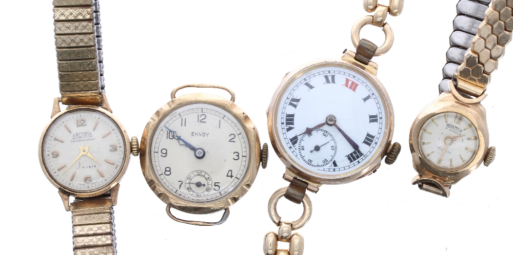 Lot 1911 - Four 9ct ladies wristwatches to include Envoy, Roamer and Arcadia, 79.7gm