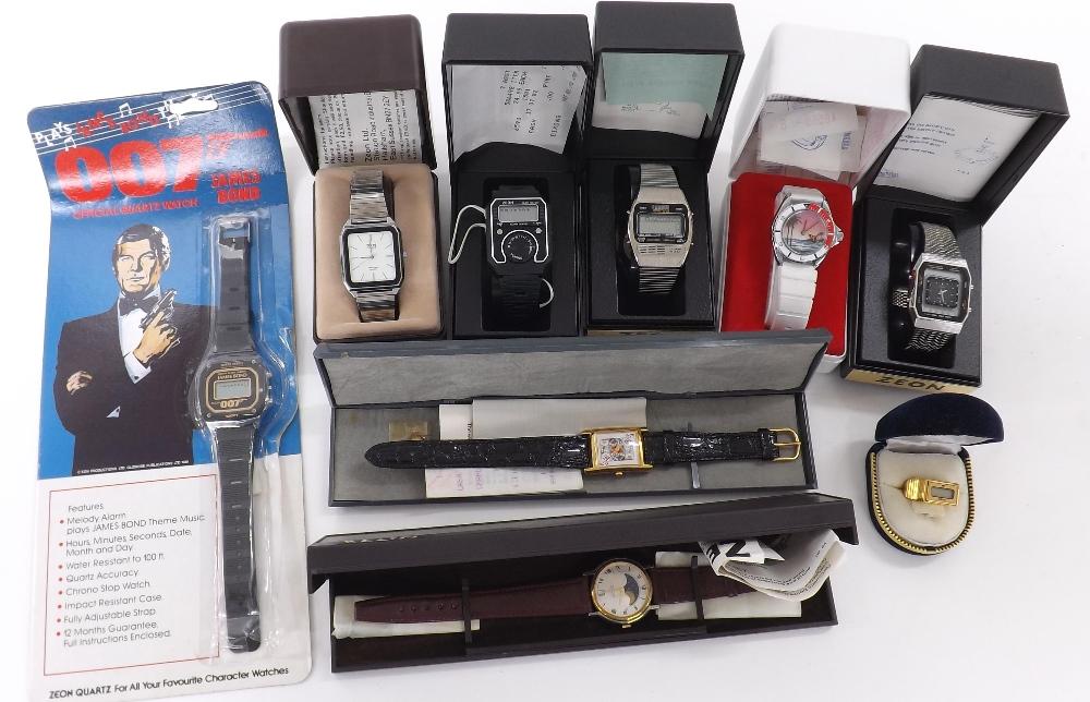 Lot 1900 - Seven various Zeon wristwatches including a 007 James Bond quartz wristwatch with original