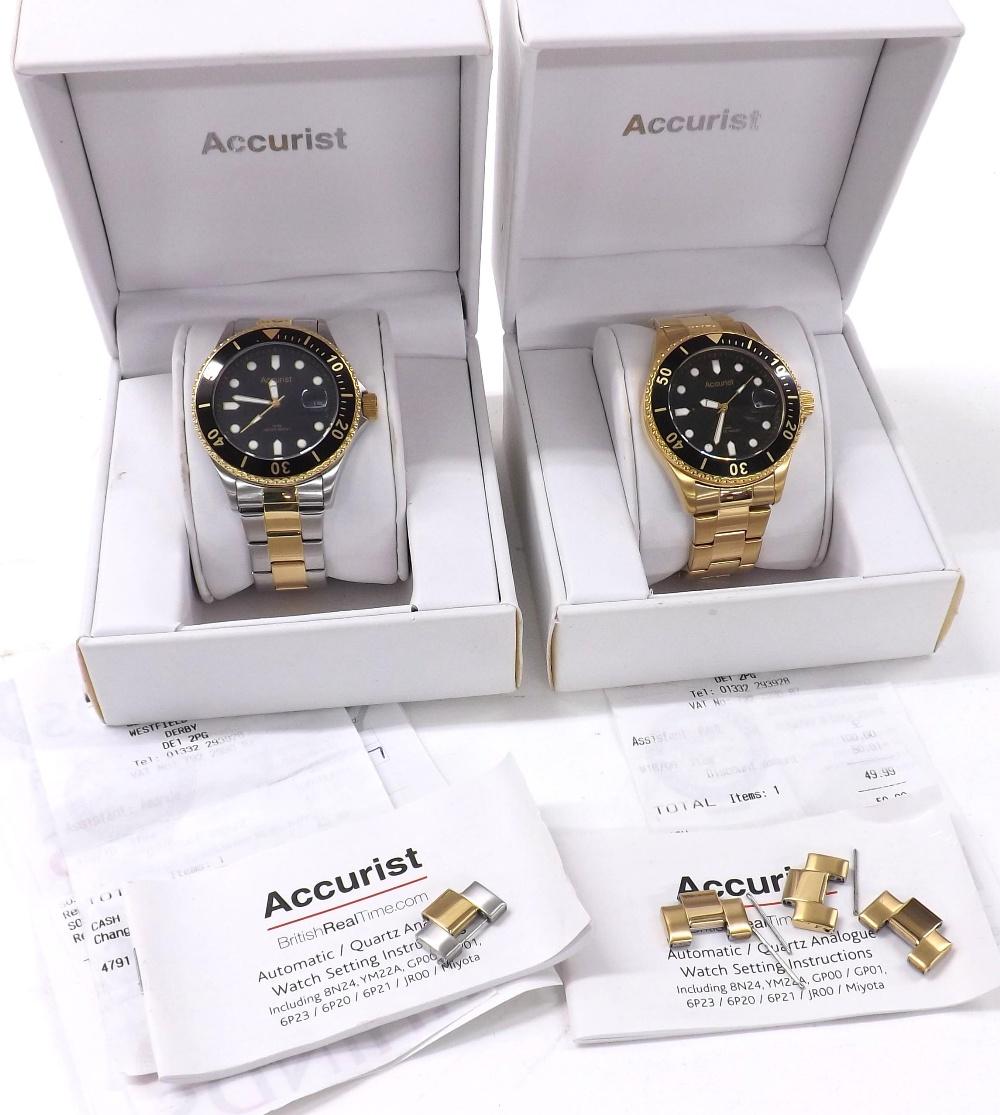 Lot 1898 - Accurist two-tone gentleman's bracelet watch, ref. MB822B, quartz, 43mm (box, spare link,