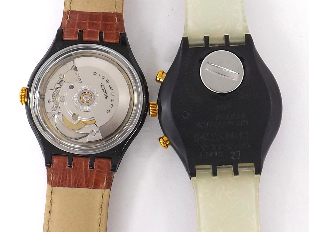 Lot 1887 - Swatch automatic gentleman's wristwatch, 33 jewel, original tan leather strap, 37mm (cased with