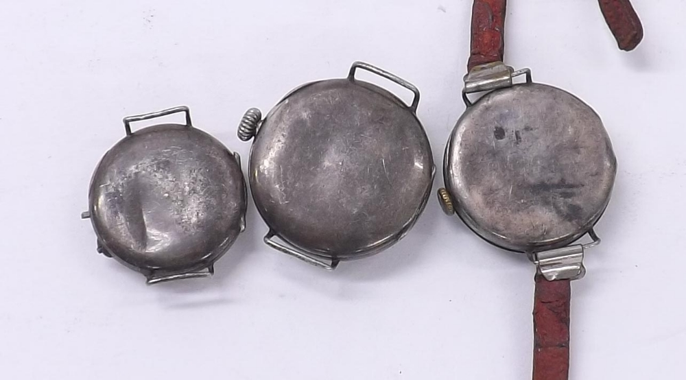 Lot 1920 - Three silver (0.925) wire-lug wristwatches for repair (3)