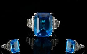 Large Swiss Blue Topaz and White Topaz S