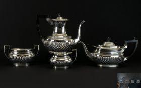 Victorian Period 4 Piece Solid Silver Te