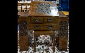Oriental Carved Bureau - of small propor