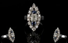 18ct Diamond Cluster Ring, Marquise Shap