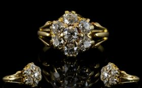 Antique 18ct Gold And Diamond Cluster Ri