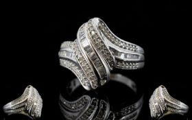 Diamond 'Wave' Ring, a row of baguette c