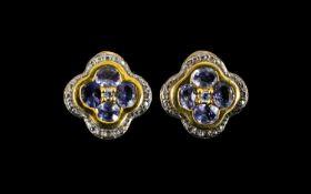 Tanzanite Pair of Quatrefoil Stud Earrin
