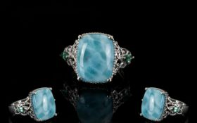 Larimar Solitaire Ring with Ocean Blue a