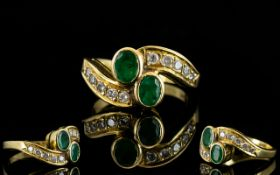 Ladies - Attractive 18ct Gold Emerald an