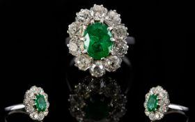 18ct White Gold Diamond & Emerald Cluste