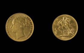 Victoria - Young Head 22ct Gold Full Sovereign - Date 1880. London Mint, Nice Grade. Weight 7.