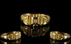 Antique Period - Attractive 18ct Gold Diamond Set Dress Ring, Full Hallmark for Birmingham 1918,