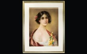 John Wesley Carroll (American, 1892-1959 ) Original Chalk Pastel Female Portrait (Untitled) Circa