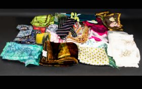 A Mixed Box Of Vintage Silk Scarves And Foulards A mixed of 25 to include various examples by