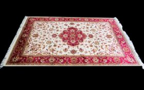 Woven Silk Carpet Keshan rug with beige ground and traditional Middle Eastern floral and foliate