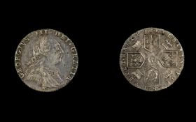 George III Silver Sixpence with Hearts - Date 1787. Milled Edge, Nice Grade / Tone.