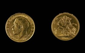 George V 22ct Gold Full Sovereign - Date 1913. London Mint - High Grade Coin. Weight 7.98 grams.