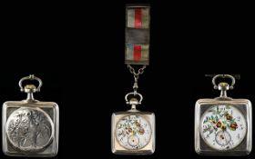 Omega - Rare Art Nouveau Period Award Winning Square Shaped Superb Open Faced Pocket Watch,