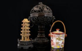 A Small Collection Of Oriental Items To include modern resin incense holder,