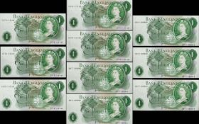 Bank of England Collection of One Pound Banknotes In Mint - Uncirculated Condition and In