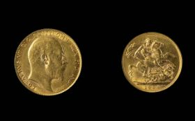 Edward VII 22ct Gold Full Sovereign - Date 1904. London Mint - High Grade Coin. Weight 7.98 grams.