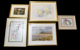 A Collection Of Mixed Watercolours And Prints Five items in total to include nursery print and four