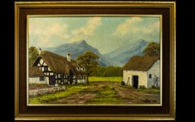 Keith Sutton Local Artist Interest Oil On Board Mountainous landscape with farmhouse.