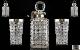 English Late 19th Century Stunning Sterling Silver and Hobnail Cut Crystal Locking Decanter - For