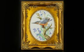Framed Watercolour Polychrome illustration depicting a kingfisher amongst flowers and grasses,