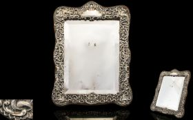 Edwardian Period Embossed - Shaped Silver Framed Mirror with Shell / Foliate / Trellis Decorated