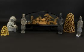 A Mixed Collection Of Oriental Items To include two carved soapstone figural monkey ornaments,