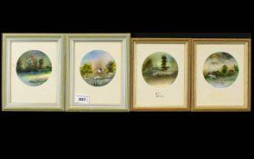 June M.Z. Crawshaw - Born Dec 1956 Set of 4 Circular Watercolours, Signed.