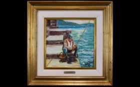 Original Oil On Canvas Framed impasto oil depicting a Portuguese fisherman. Signed to bottom left '