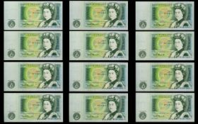 Bank of England Collection of One Pound Banknotes - All In Uncirculated - Mint Condition ( 12 )