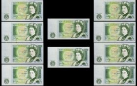 Bank of England Collection of One Pound Banknotes - All In Uncirculated - Mint Condition ( 10 ) Ten
