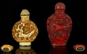 Chinese 19thC Deeply Carved Ivory Snuff Bottle character marks to underside of bottle, Height 2.75