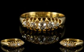 Edwardian Period - Attractive Five Stone Diamond Set Diamond Dress Ring.