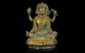 Antique Chinese Sino Tibetan Gilt Bronze Figure Of The Four-Armed Avalokiteshvara