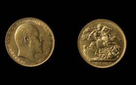 Edward VII 22ct Gold Full Sovereign - Date 1907, London Mint - Good Grade. Weight 7.98 grams.