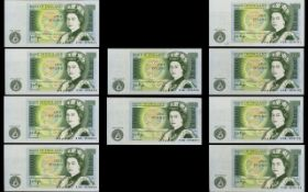 Bank of England Collection of One Pound Banknotes ( 2 ) Sets of Consecutive Numbers ( 10 ) Ten