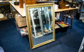 Gilt Framed Mirror Large modern square form mirror in plae gilt frame. 29.5 x 42 inches, overall