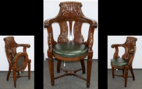 Early 19th Century Mahogany Campaign Chair Comprising carved backrest,