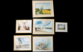 A Collection Of Six Original Artworks Various subjects to include landscapes,