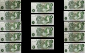 Bank of England Collection of Uncirculated / Mint One Pound Banknotes ( 14 ) In Total.