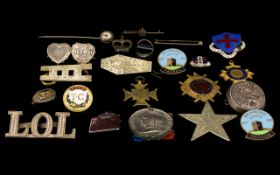A Mixed Collection Of Enamel Badges And Silver Items A varied lot to include embossed silver badge,