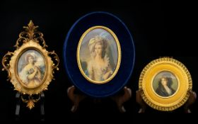 A 20th Century Portrait Miniature Circa 1940's Housed in blue velvet and gilt oval fame depicting